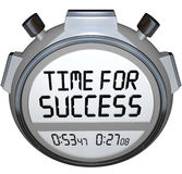 Hora para la raza del triunfo del contador de tiempo del cronómetro de las palabras del éxito Imágenes de archivo libres de regalías
