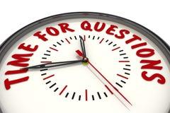 Hora para las preguntas Reloj con el texto stock de ilustración