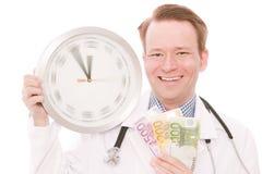 Hora para los ahorros médicos (el reloj de giro da la versión) imagen de archivo