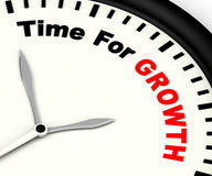 Hora para a mensagem do crescimento que mostra o aumento ou a aumentação Imagens de Stock Royalty Free