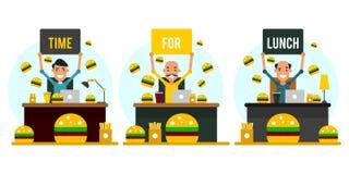 Hora para o almoço Grupo de homens de negócios dos desenhos animados no local de trabalho em f Fotos de Stock Royalty Free