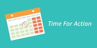 Hora para o conceito da ação com um fundo do azul do calendário ilustração royalty free