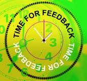 A hora para o feedback indica a satisfação e a resposta da avaliação Foto de Stock