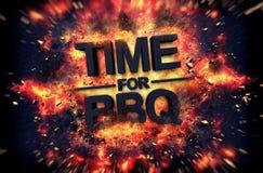Hora para o projeto impetuoso do cartaz do BBQ Fotografia de Stock Royalty Free