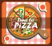 Hora para plantilla social de la bandera del vector de la pizza la medios stock de ilustración