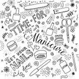 Hora para a rotulação da garatuja do tratamento de mãos Ilustração Royalty Free
