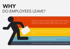 Hora: Porque faça os empregados saem, gráficos da informação da fuga de cérebros ilustração do vetor