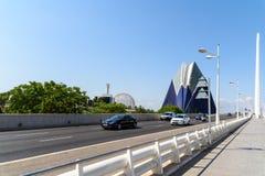 Hora punta en el centro céntrico de Valencia City Foto de archivo libre de regalías