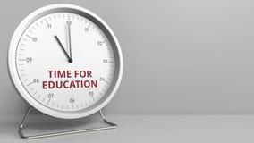 HORA que revela PARA el texto de la EDUCACIÓN en la cara de reloj Animación conceptual libre illustration
