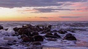 Hora tempestuosa de la puesta del sol Fotografía de archivo libre de regalías