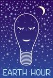 Hora y ecología de la tierra La lámpara dibujada por un contorno blanco duerme contra un cielo estrellado Gráfico simbólico ilustración del vector