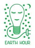 Hora y ecología de la tierra La lámpara dibujada por un contorno verde duerme contra un cielo estrellado Gráfico simbólico stock de ilustración