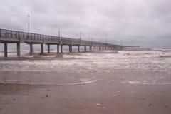 Horace Caldwell Pier i port Aransas Texas Arkivfoton