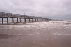 Horace Caldwell Pier in Port Aransas Texas. As a storm is coming in stock photos