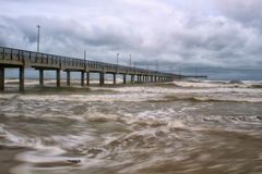 Horace Caldwell Pier in Port Aransas Texas. As a storm is coming in Royalty Free Stock Photo