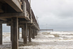 Horace Caldwell Pier in Port Aransas Texas. As a storm is coming in Stock Image