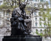 Horace Greeley City Hall Park New York City. Horace Greeley Statue in the City Hall Park. Manhattan Island, New York City, USA royalty free stock photography