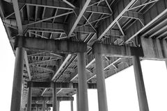 Horace Wilkinson Bridge supports in Baton Rouge, Louisiana Royalty Free Stock Images