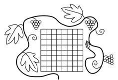 Horaire blanc d'école de noir de page de livre de coloriage Image libre de droits