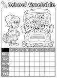Horaire 7 d'école de livre de coloriage illustration stock