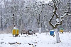 Horaire d'hiver dans le vieux jardin rural image stock