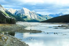 Horaire d'hiver de neige d'Alberta Canada de lac Images libres de droits