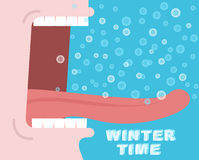Horaire d'hiver hurlements Cri d'hiver Les flocons de neige volent et tombent dans la tonne illustration de vecteur