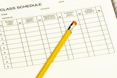 Horario de clase con el lápiz Foto de archivo libre de regalías