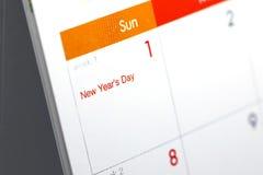 Horario de escritorio del espacio en blanco del calendario del 1 de enero de 2017 Foto de archivo libre de regalías