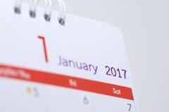Horario de escritorio del espacio en blanco del calendario del 1 de enero de 2017 Fotos de archivo