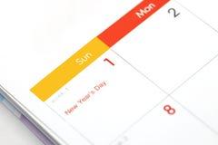 Horario de escritorio del espacio en blanco del calendario del 1 de enero de 2017 Fotos de archivo libres de regalías