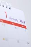 Horario de escritorio del espacio en blanco del calendario del 1 de enero de 2017 Imágenes de archivo libres de regalías