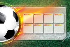 Horario de la competencia del fútbol del fútbol del fondo fotografía de archivo libre de regalías