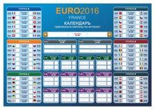 Horario de los finales del EURO 2016 de la taza del fútbol Imagen de archivo
