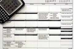 Horario de trabajo mensual y PDA Imagen de archivo