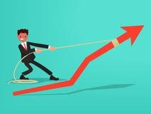 Horario de ventas El hombre de negocios hace un esfuerzo para crecer ventas VE Ilustración del Vector