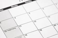 Horario de verano 2019 en calendario Tiempo delantero de la primavera - luz del día de los ahorros fotografía de archivo libre de regalías