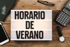 Horario de Verano, Spanish Horario de Verao, Portuguese Daylight Stock Photography