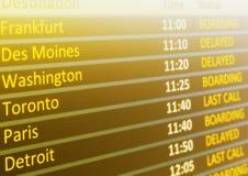 Horario de vuelo Imagen de archivo libre de regalías