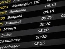 Horario de vuelo Imagenes de archivo