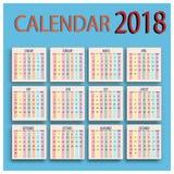Horario del calendario de la vida de cada día 2018 Imágenes de archivo libres de regalías