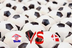 Horario del partido de fútbol, Croacia contra Dania Fotos de archivo