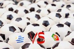 Horario del partido de fútbol, Uruguay contra Portugal Foto de archivo libre de regalías
