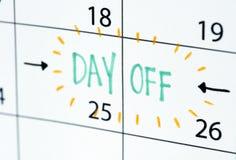 Horario del recordatorio del calendario del día libre foto de archivo libre de regalías