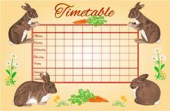 Horario semanal del calendario con vector de los conejos Fotos de archivo