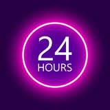 24 horas abrem o sinal Foto de Stock Royalty Free