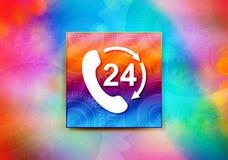 24 horas abrem o telefone gerenciem a ilustração colorida do projeto do bokeh do fundo do sumário do ícone da seta ilustração do vetor