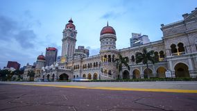 Horas azules de edificio de Sultan Abdul Samad Fotos de archivo libres de regalías