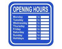 Horas de abertura Imagens de Stock