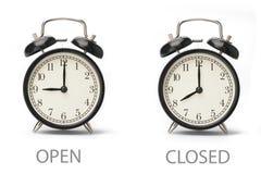 Horas de apertura de oficina de demostraci?n de la muestra aisladas en el fondo blanco stock de ilustración